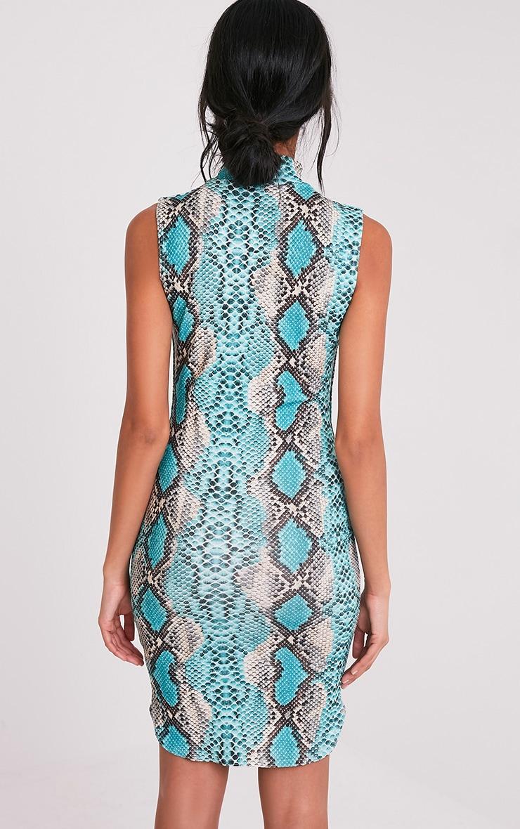 Harria Turquoise Snake Print Choker Detail Bodycon Dress 2