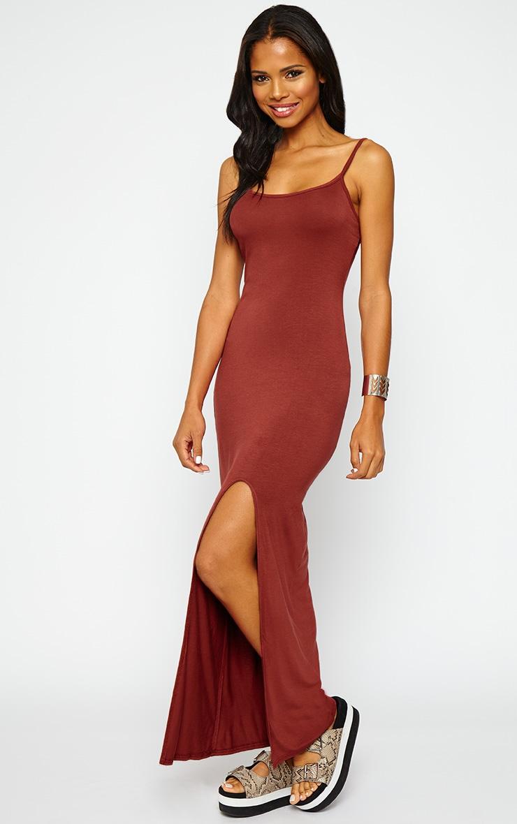 Aurelia Rust Front Slit Cami Maxi Dress 3