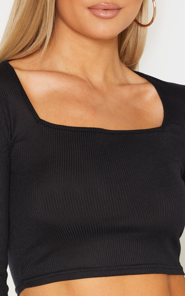 Tall Black Square Neck Ribbed Long Sleeve Crop Top 6