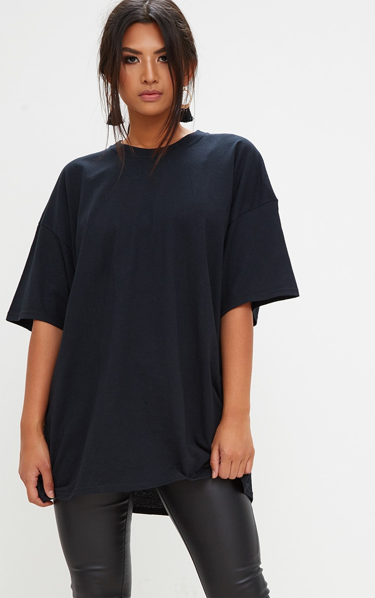 Black Oversized Boyfriend T Shirt  1