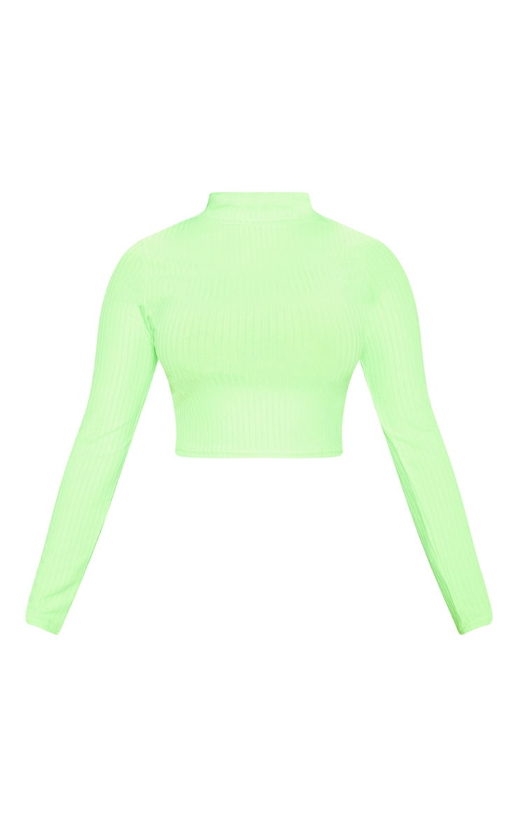 Petite Neon Lime High Neck Ribbed Long Sleeve Crop Top 3