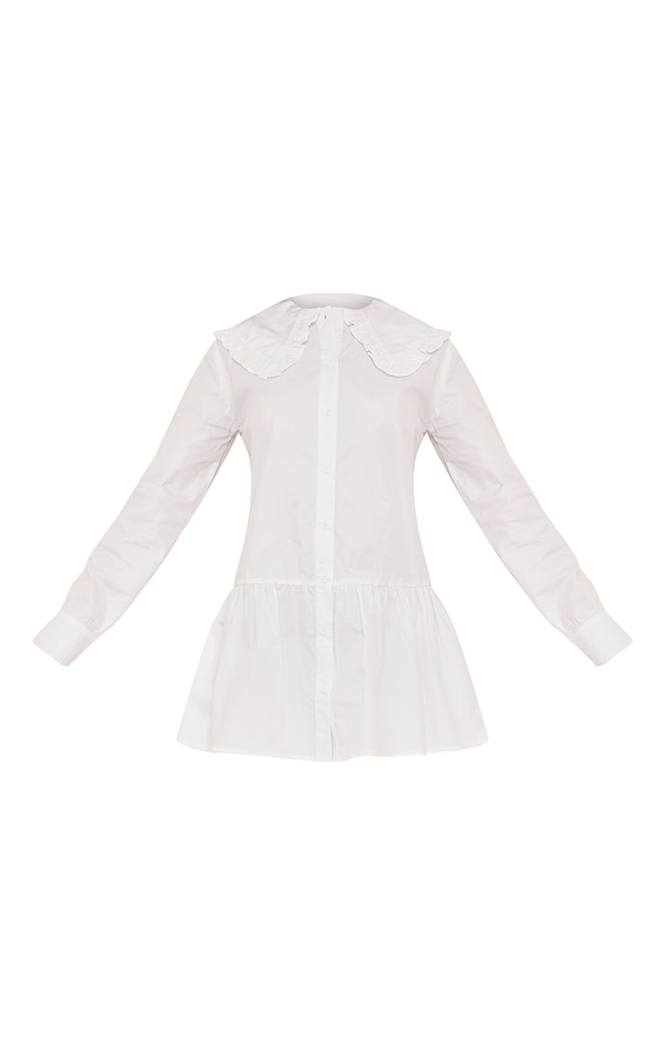 Petite White Oversized Collar Shirt Dress 5