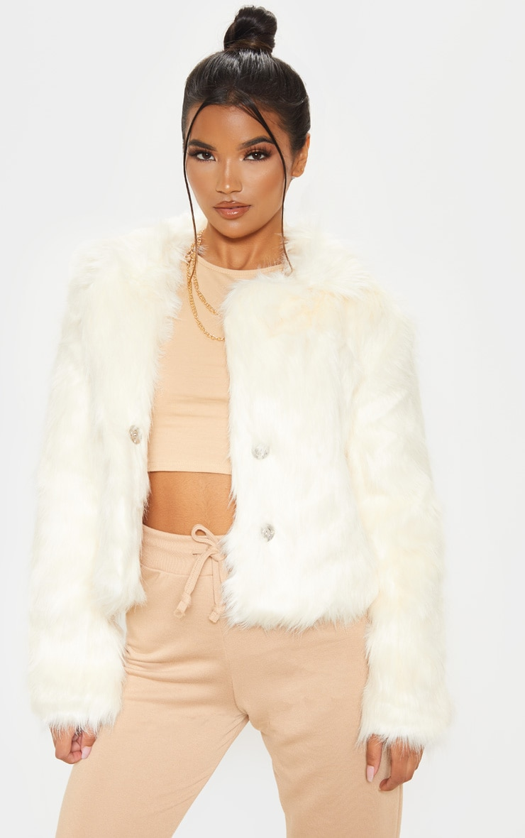 Cream Faux Fur Jacket 1
