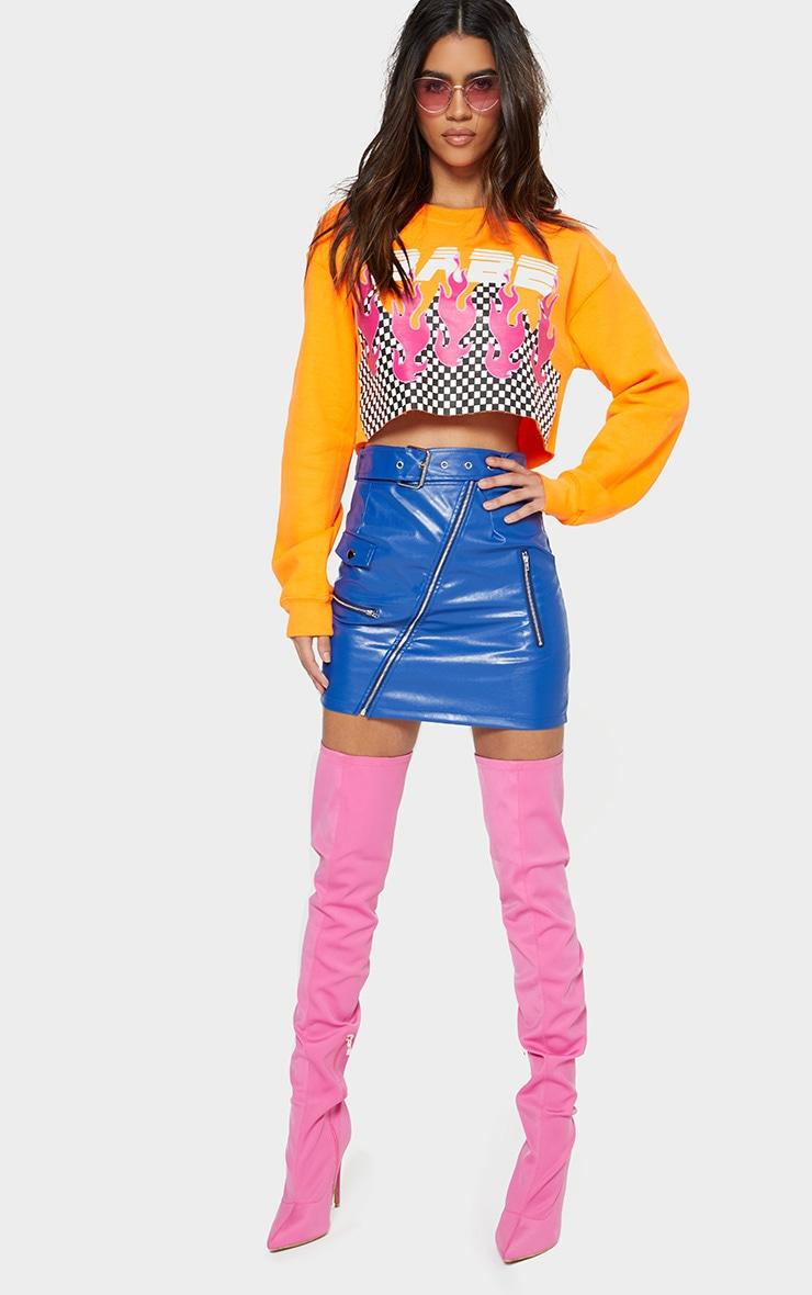 Cobalt Biker Belted Mini Skirt 4