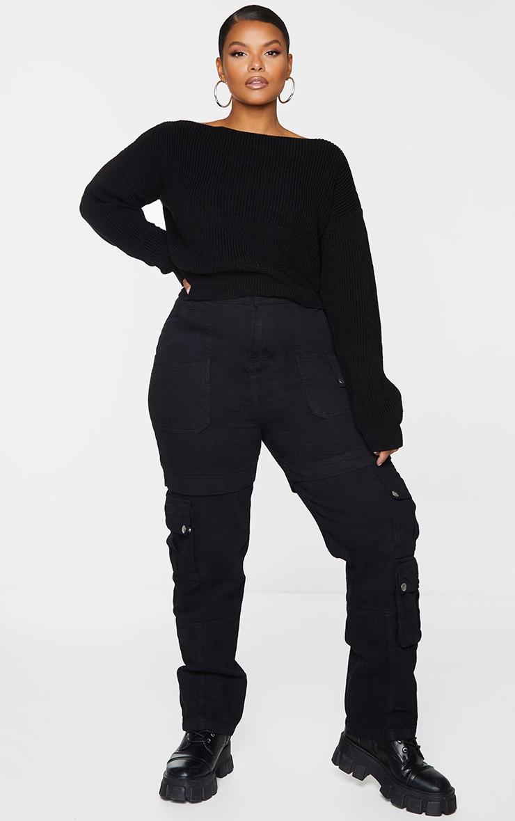 PLT Plus - Pull court tricoté noir à col large 3