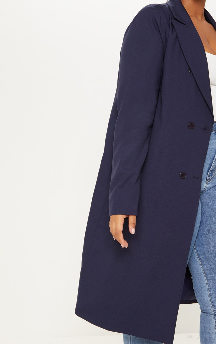 Plus Navy Woven Oversized Trench Coat 5