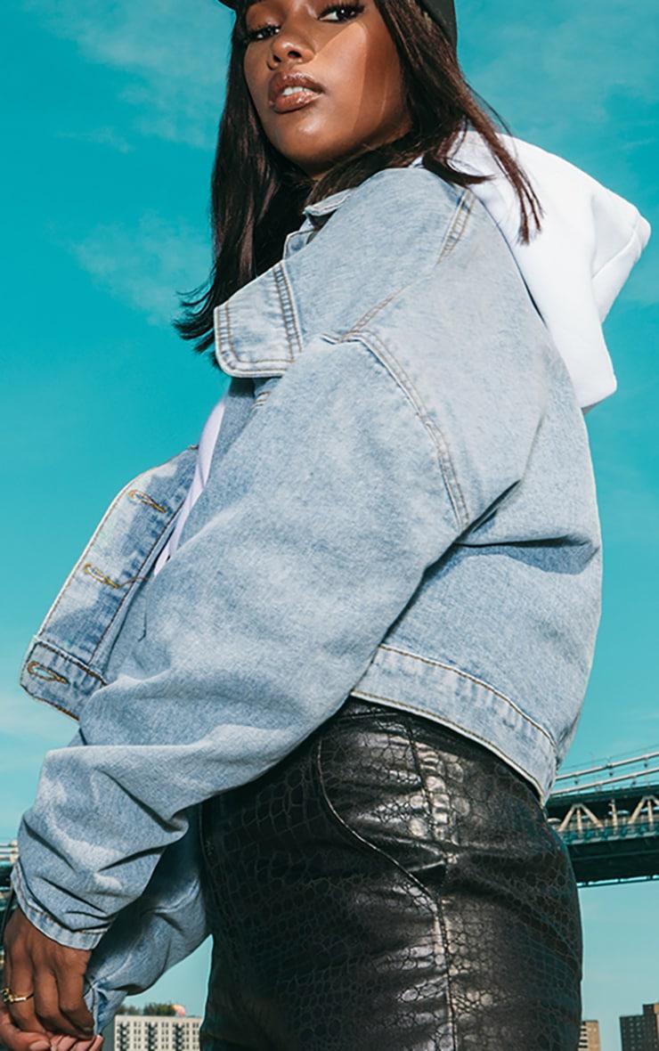 Vintage Wash Ruched Sleeve Oversized Denim Jacket 4