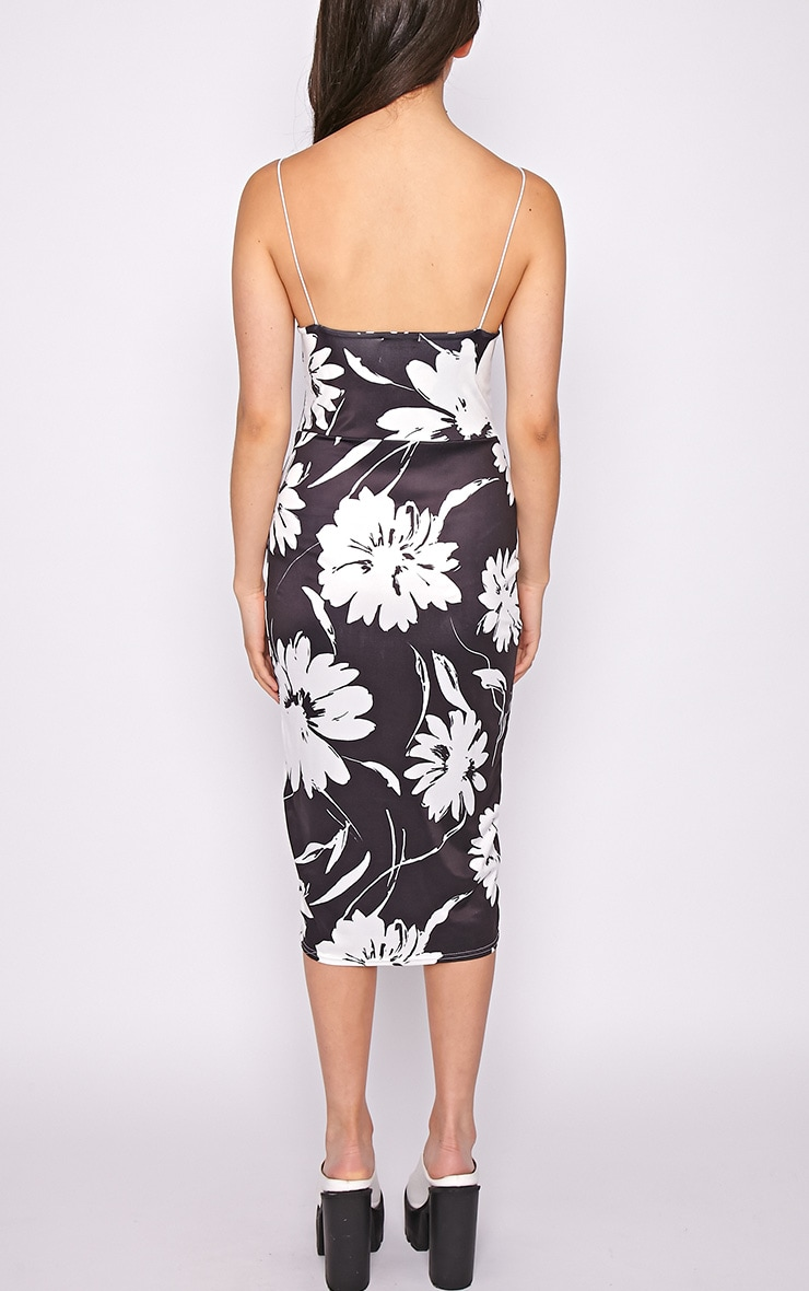 Amaya Monochrome Floral Print Midi Dress 2
