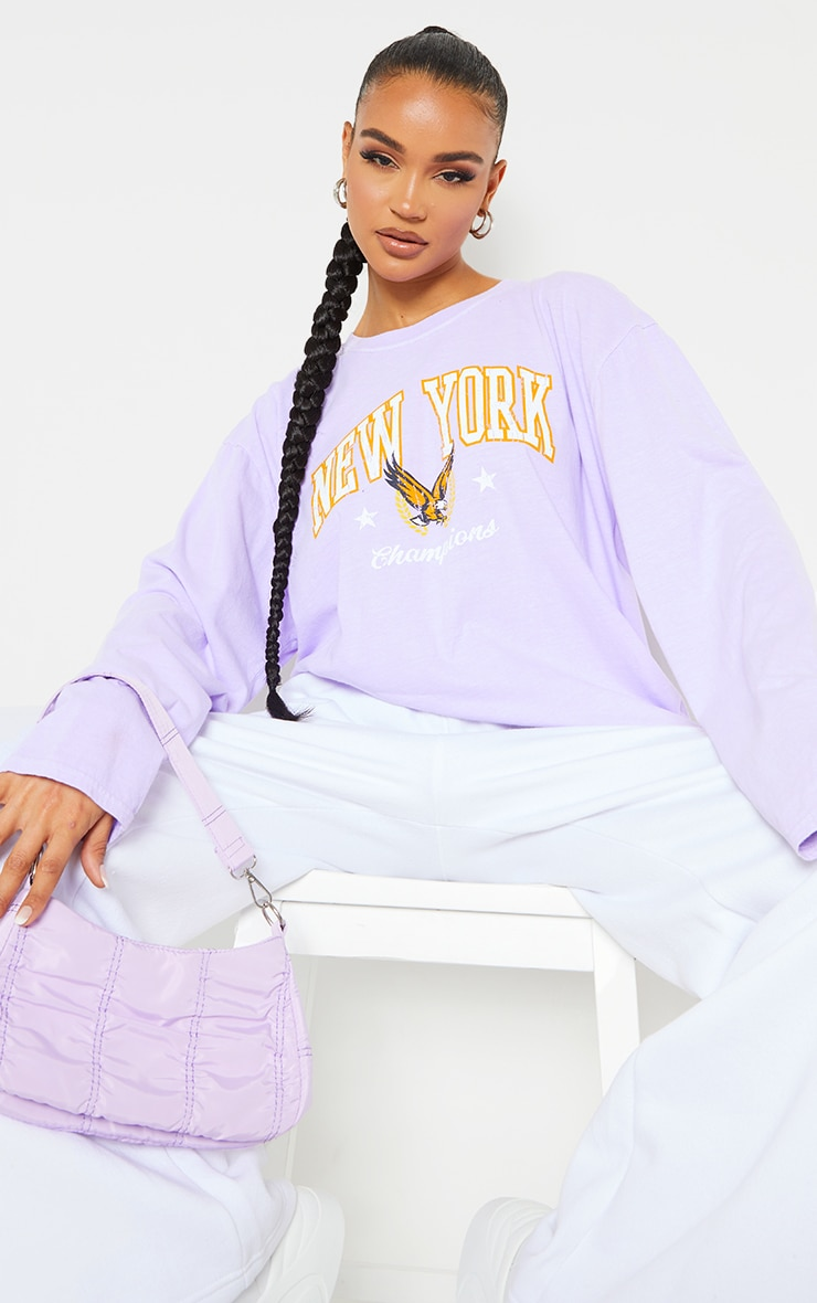 Purple New York Champion Washed Long Sleeve T Shirt 1