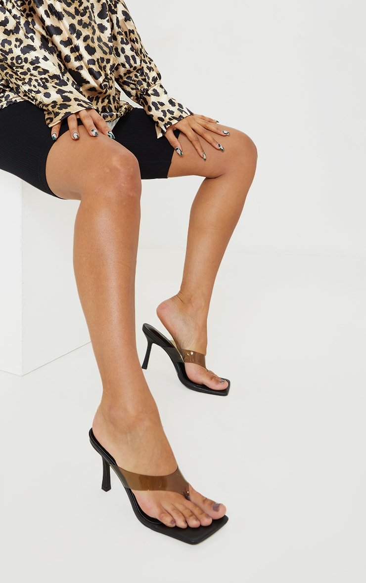 Clear Smoked Toe Thong High Heeled Mules 1