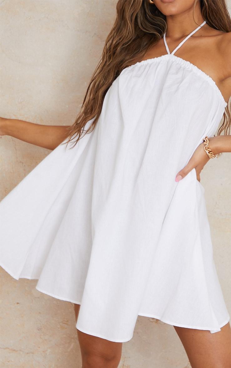 White Linen Rope Halterneck Smock Dress 4