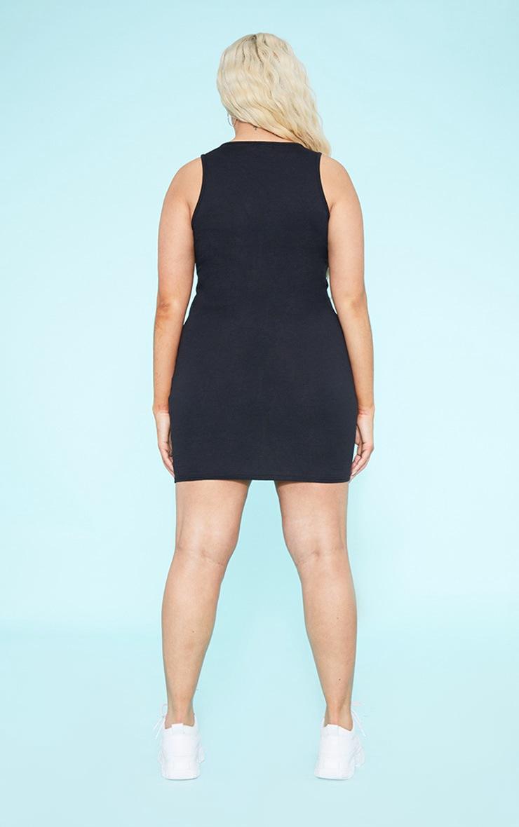 RECYCLED Plus Black Square Neck Sleeveless Bodycon Dress 5