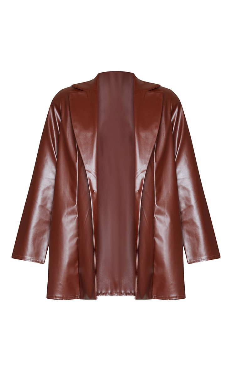 Chocolate Longline Lapel Detail Faux Leather Blazer 5