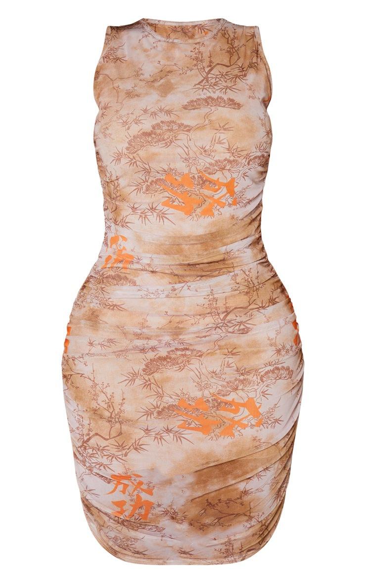 Shape Nude Renaissance Print Sleeveless Bodycon Dress 3