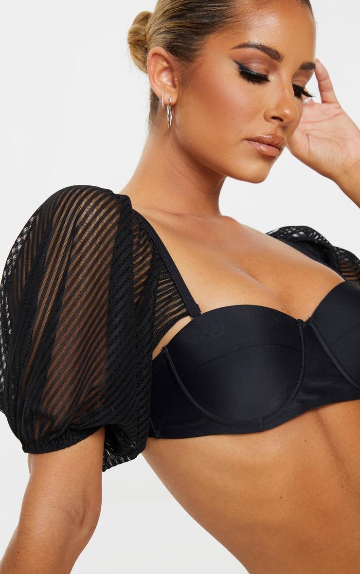 Black Sheer Stripe Puff Sleeve Cupped Bikini Top 5