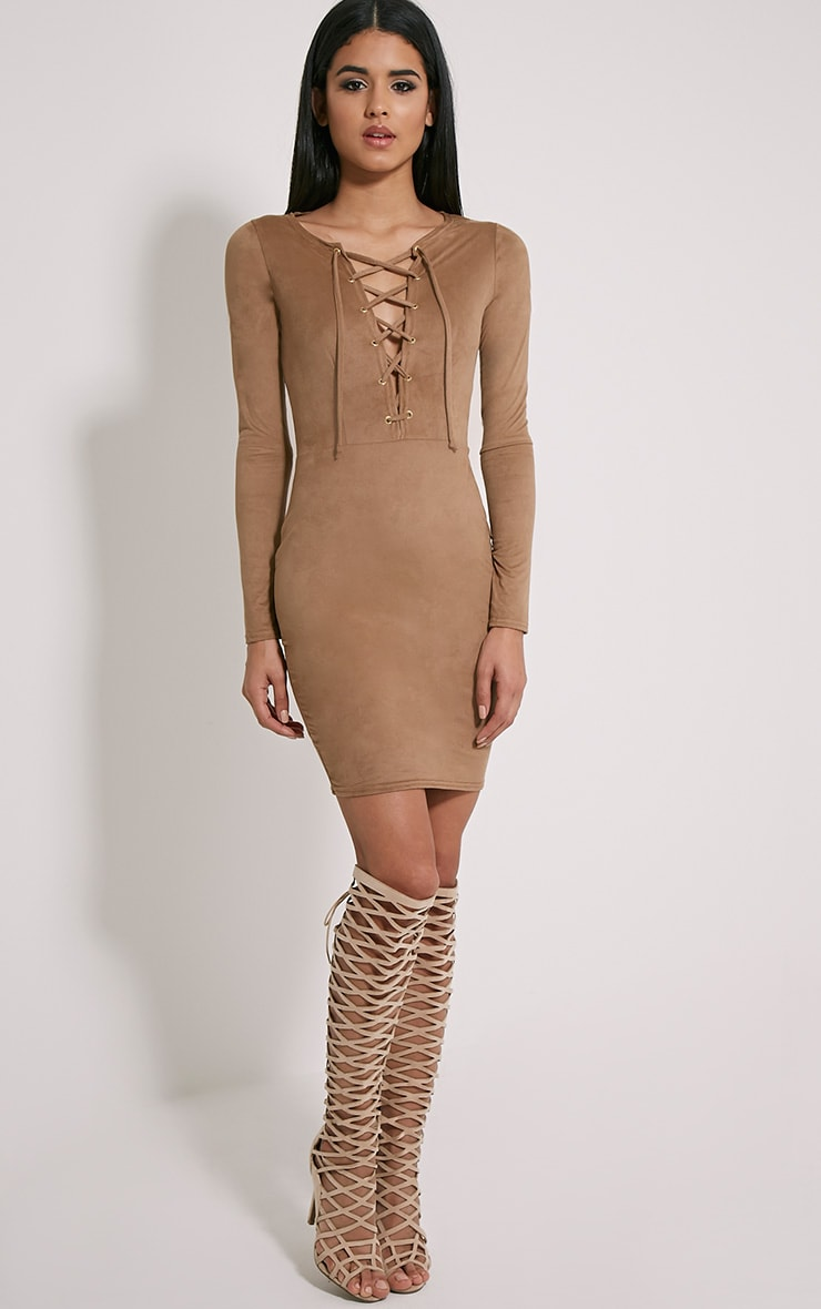 Solita Camel Faux Suede Lace Up Mini Dress 3