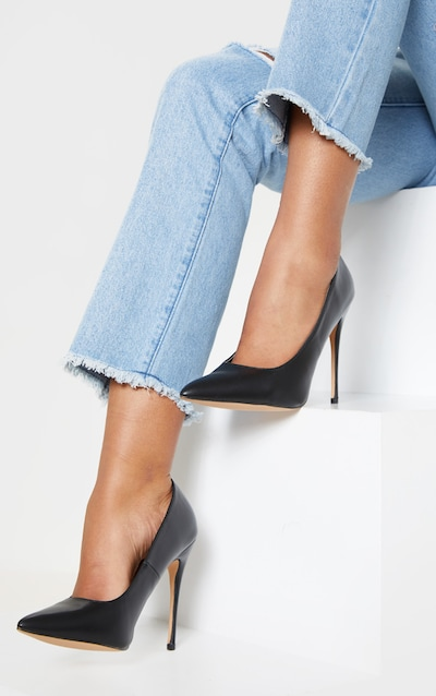 35059b0c8da Black PU Court Shoes