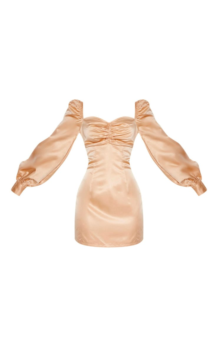 Champagne Puff Balloon Sleeve Ruched Bust Bodycon Dress 4