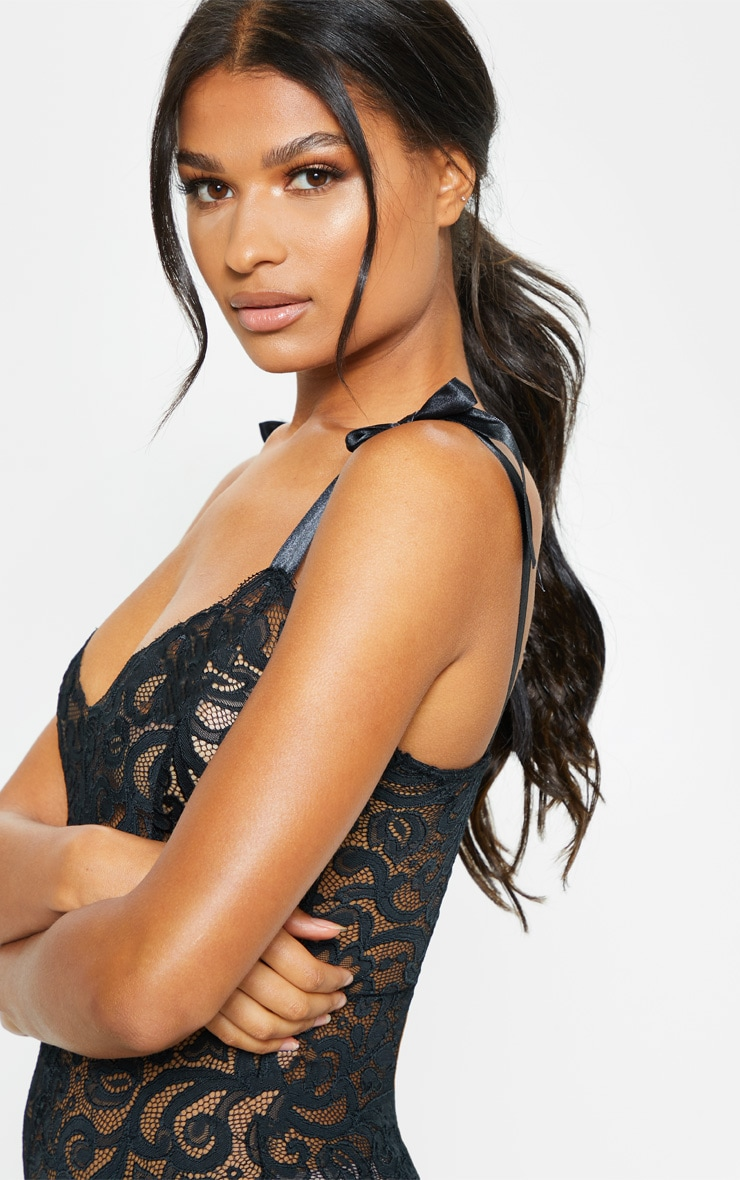 Black Tie Strap Lace Body 6