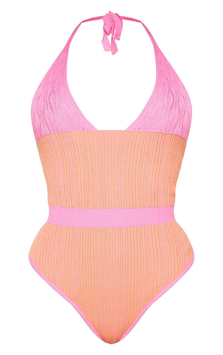 Shape Orange Knit Underbust Detail Halterneck Bodysuit 5