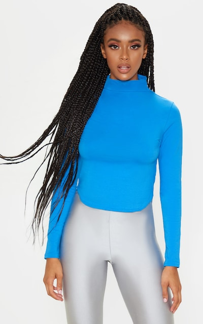 Bright Blue Cotton Funnel Neck Long Sleeve Top