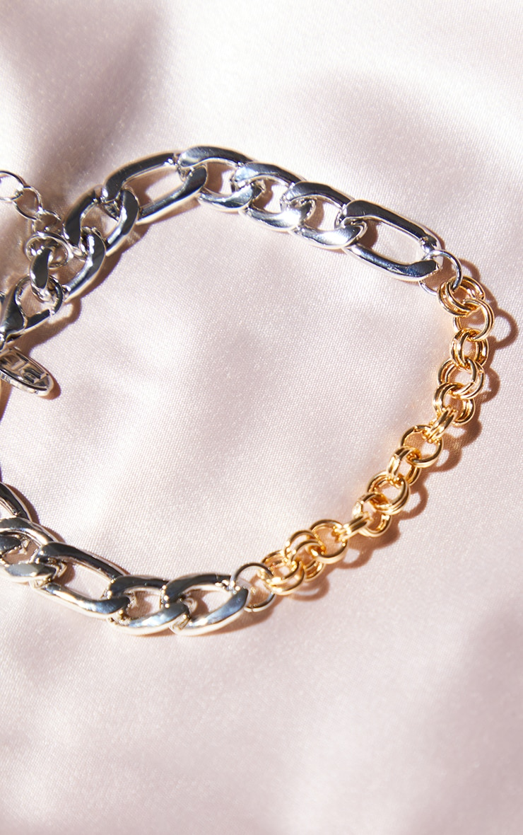 Gold And Silver Mixed Metal Chain Bracelet 3
