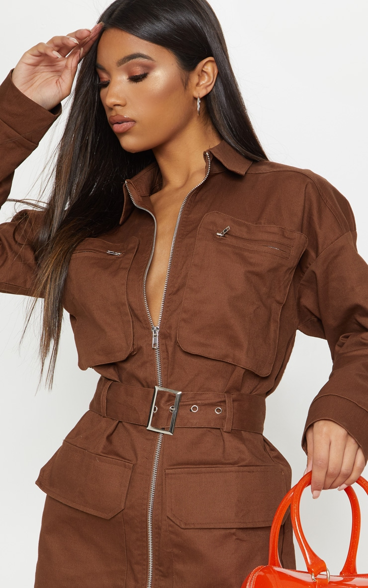 Chocolate Belted Pocket Front Utility Shift Dress 6