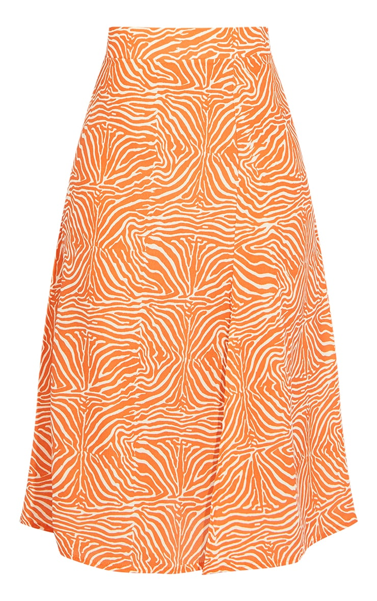 Orange Zebra Floaty Midi Skirt 5