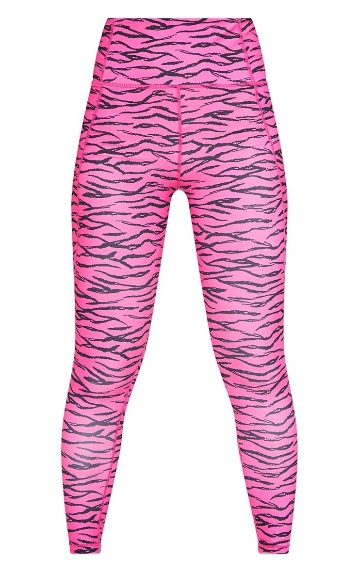 Pink Zebra Printed Cropped Gym Legging 5