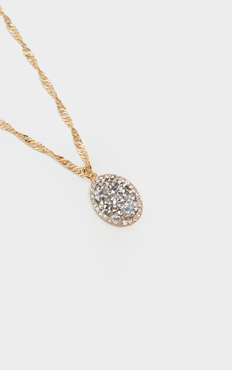 Gold Twist Chain Crystal Cluster Oval Charm Necklace 3