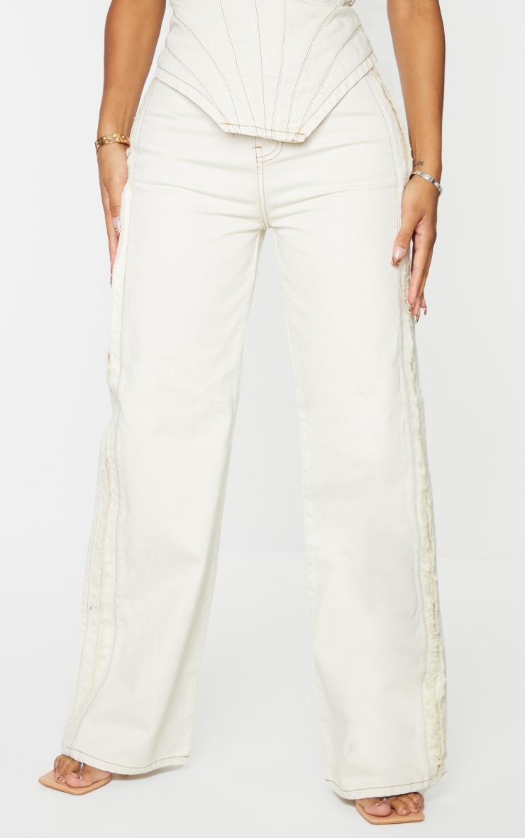 Shape Ecru Fray Side Detail Wide Leg Jeans 2