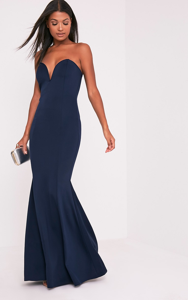 Wendie Navy Sweetheart Fishtail Maxi Dress 5