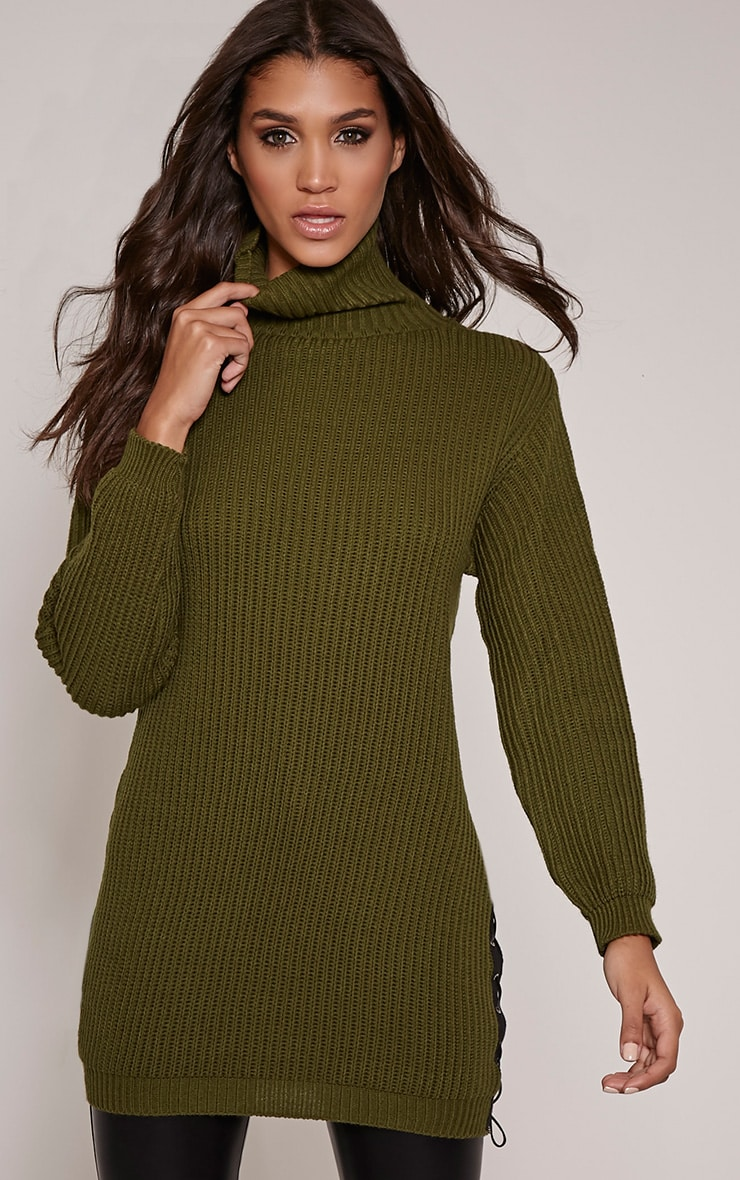 Sarina Khaki Lace Up Detail Jumper 1