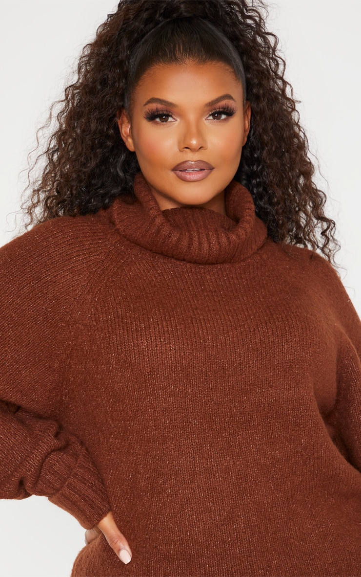 Plus Brown Cowl Neck Mid Length Jumper  5