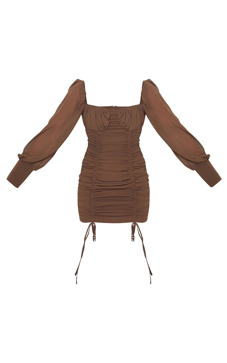 Taupe Chiffon Long Sleeve Ruched Skirt Bodycon Dress 5