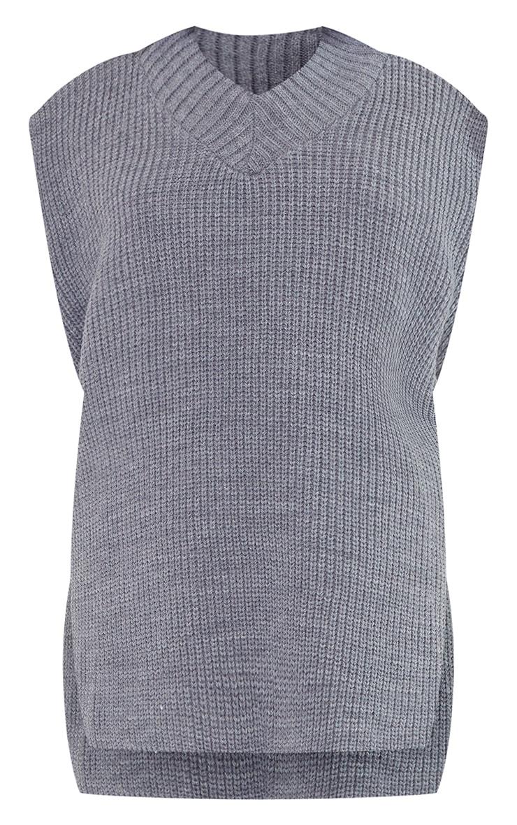 Petite Marl Grey V Neck Knitted Side Split Vest  5