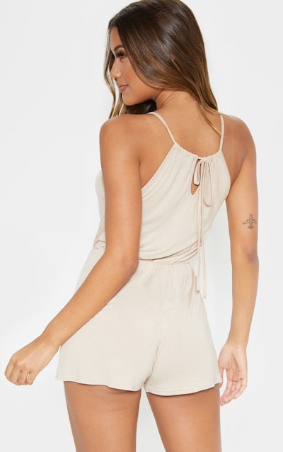 Stone Plunge Tie Back Strappy Playsuit