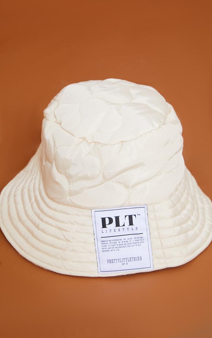 PRETTYLITTLETHING Cream Lifestyle Quilted Bucket Hat 2
