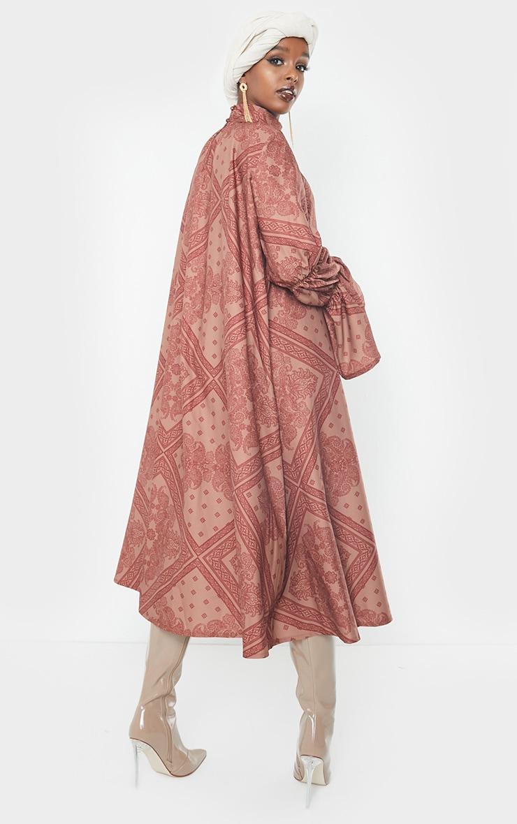 Rust Printed High Neck Puff Sleeve Dress 2