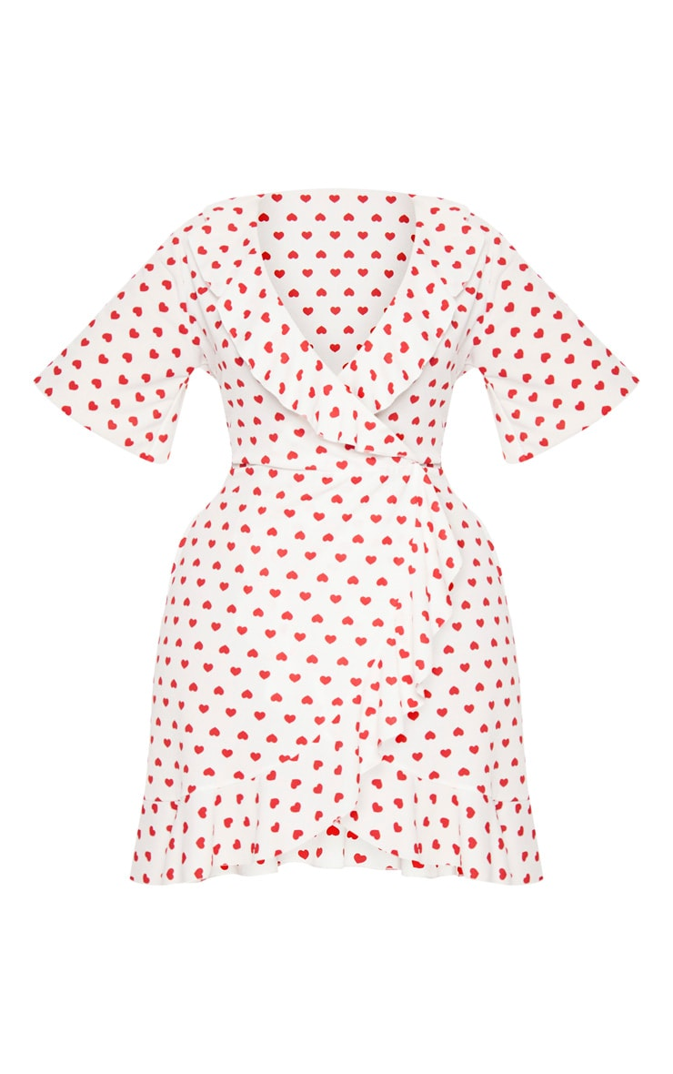 Plus White Heart Print Frill Detail Wrap Dress 3