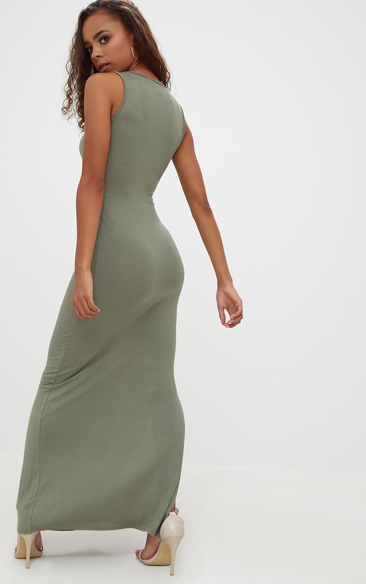 Petite Khaki Ladder Plunge Maxi Dress 2