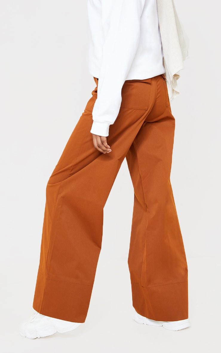 Chocolate Woven Belted Wide Leg Trousers 3