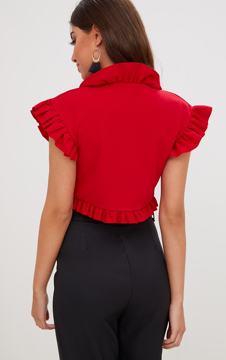 Red Frill Detail Tie Front Crop Top 2