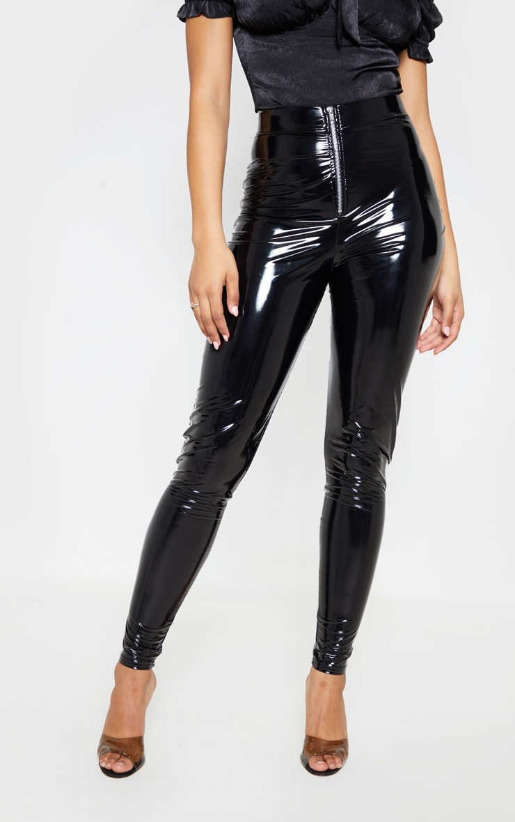 Tall Black Zip Detail Vinyl Leggings 2