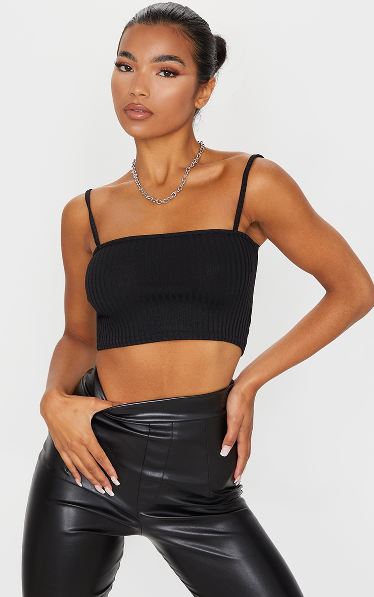 Black Rib Square Neck Strappy Crop Top  1