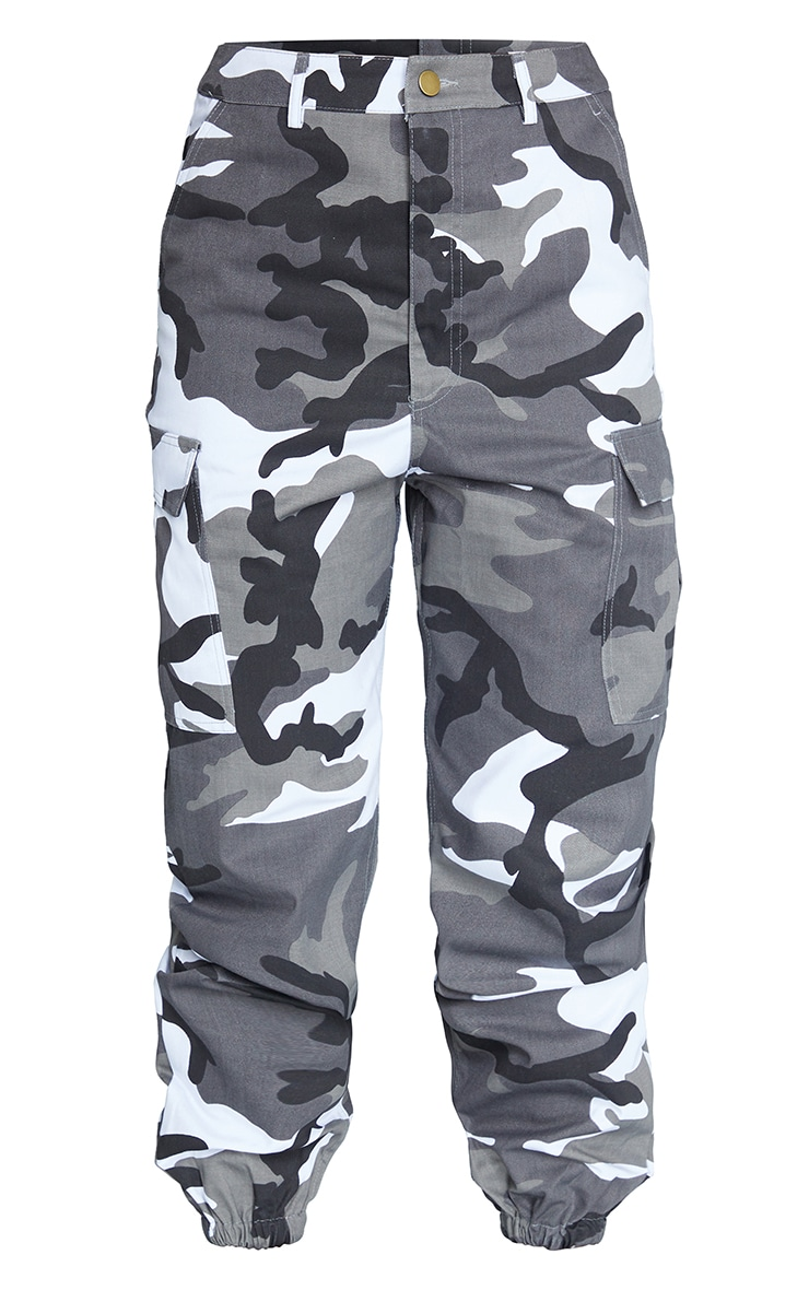 Grey Camo Print Cargo Trousers 5