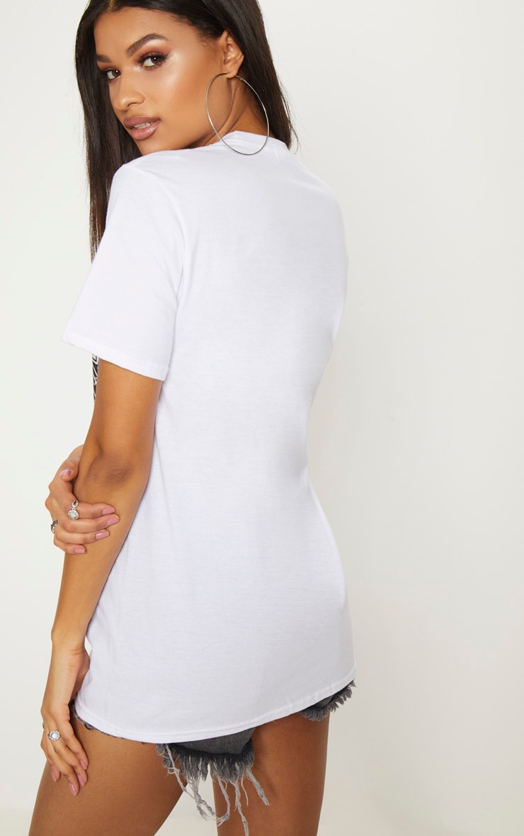 White Regrets Slogan Rock T Shirt  2