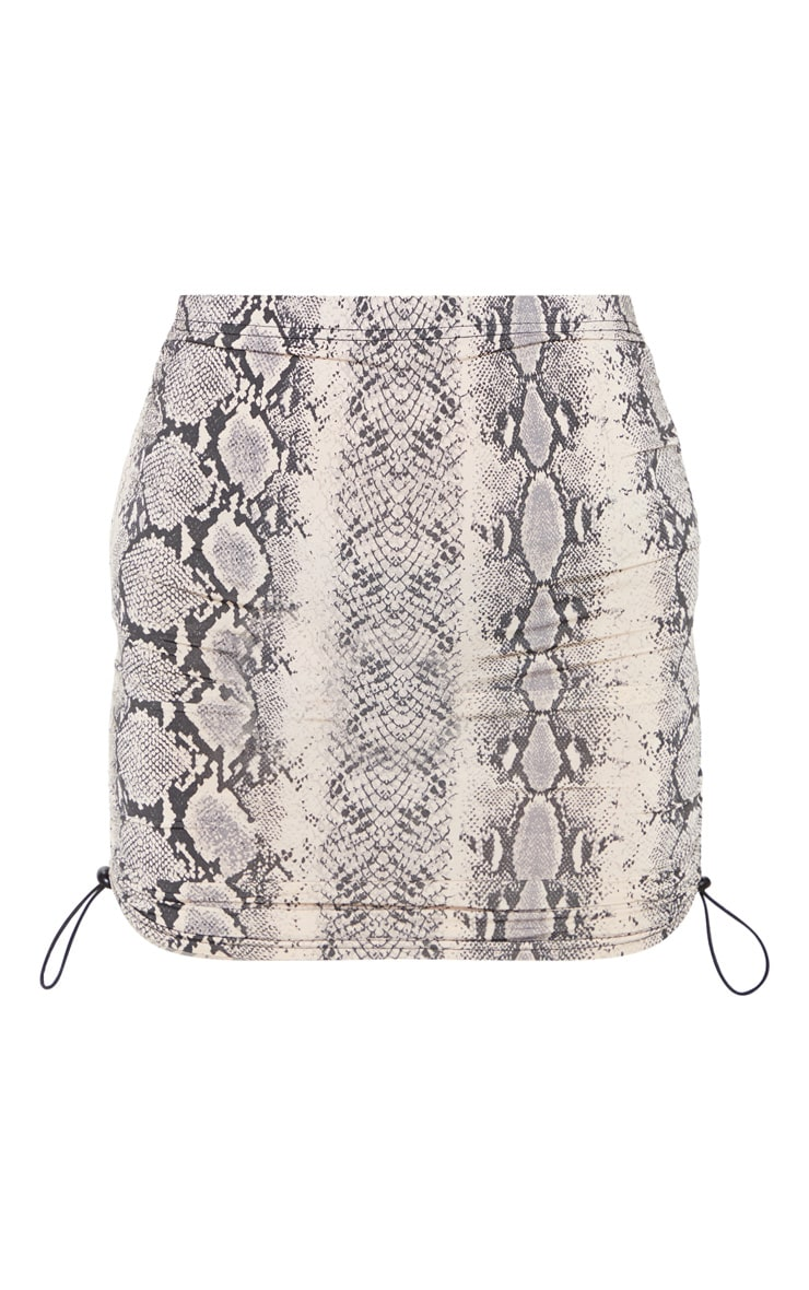 Stone Slinky Snake Print Ruched Side Toggle Mini Skirt 3
