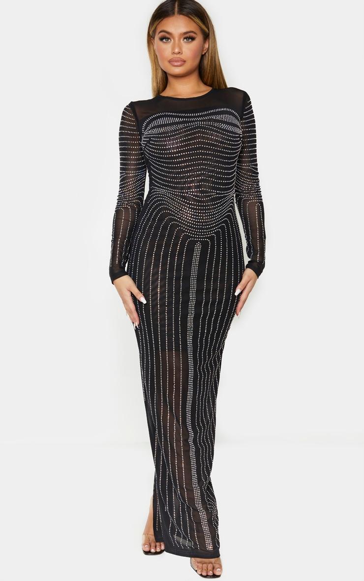 Black Diamante Embellished Mesh Long Sleeve Maxi Dress 1