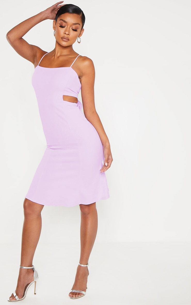 Lilac Scuba Crepe Tie Back Midi Dress 4
